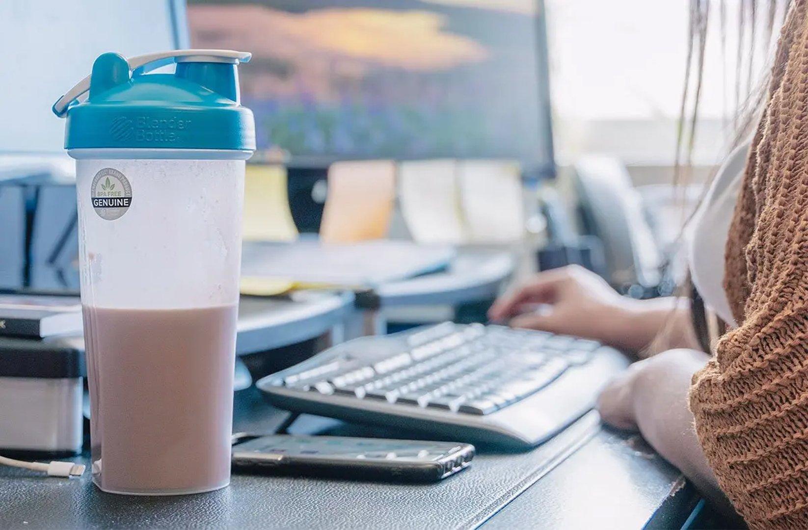 shaker bottle on a desk